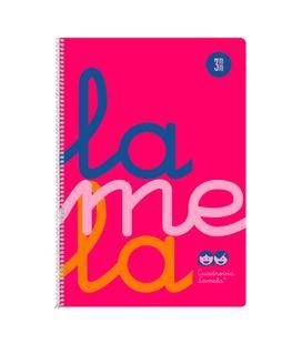 Cuaderno folio 3mm 80h 90g tapa plastic rosa fluor lamela 7ftp003r