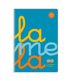 Cuaderno folio 4mm 80h 90g tapa plastic azul fluor lamela 7ftp004b