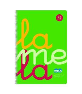 Cuaderno folio 4mm 80h 90g tapa plastic verde fluor lamela 7ftp004v