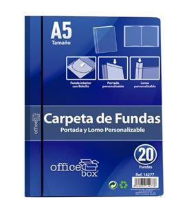 Carpeta 20 fundas a5 azul personalizable portada y lomo office box 14277 - 14277