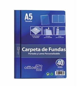 Carpeta 40 fundas a5 azul personalizable portada y lomo office box 14477