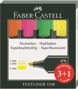 Marcador fluorescente pack 3+1n surtidos textliner faber castel 1548
