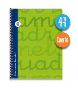 Cuaderno cuarto 4mm 80h 70g t.dura verde lamela 7cte004v