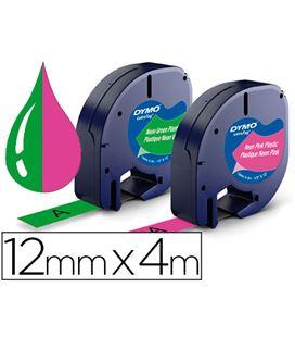 Cinta 12mmx4m plastico rosa y verde neon pack 2u dymo letratag 1956290 - 79799