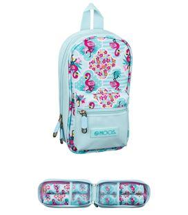 Estuche con pinturas y rotuladores mochila vacio moos flamingo turquoise safta 411918847 - 411918847