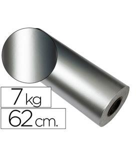 Papel regalo 62cmx200mts bobina plata impresma 7090 62