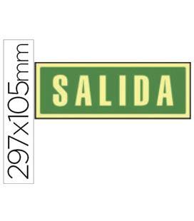 Señalizacion salida verde foliotoluminiscente 297x105 liderpapel 76046 - 76046