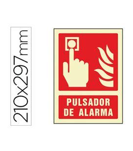 Señalización pulsador de alarma rojo 210x297 liderpapel 76039 - 76039
