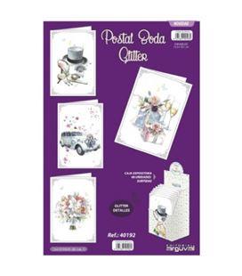 Postal boda glitter surtidas arguval 40192 - 40192
