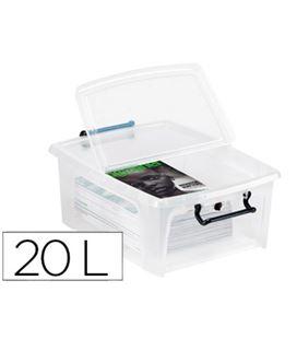 Contenedor plastico 20 litros 190x460x170mm transparente con tapa cep 75940 - 75940