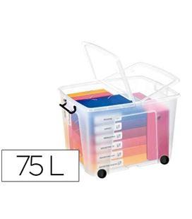 Contenedor plastico 75 litros 485x600x415mm transparente con tapa cep 57164 - 57164