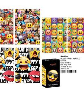 Papel regalo 70cmsx2mts emoticonos montichelvo 54038