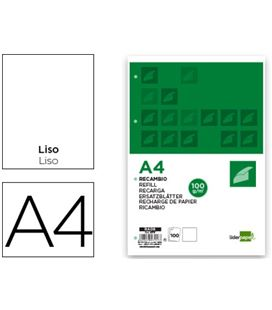 Recambio a4 4 anillas liso 100h 100grs liderpapel rf06 47117