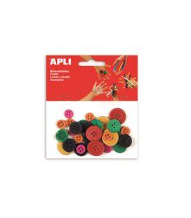 Botones de madera colores surtidos 30 uds. apli