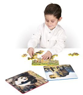 Puzzle plastic progresivo animales set 3 puzzles 6, 12 y 25 piezas 21 x 21 - 114298