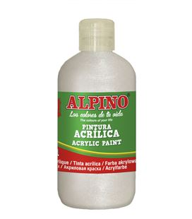 Pintura acrilica botella 250 ml base blanca metalizada alpino