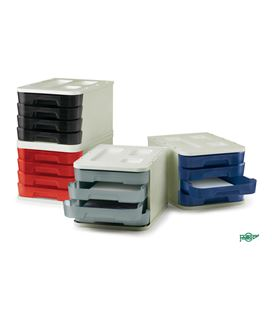 Modulo apilable plastico 4 cajones 28,5x37,5x23cm gr/gr faibo - 113583