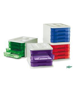 Modulo apilable plastico 4 cajones translucido 28,5x37,5x23cm gr/vd faibo - 113576