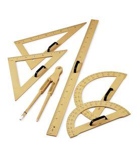 Juego 5 piezas plastico imitacion madera (regla,cart,seminc,compas,escuadra