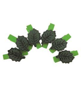 Pinzas de madera pack 6 hojas verdes smart - 112109