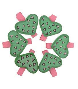 Pinzas de madera pack 6 corazones verdes smart - 112114