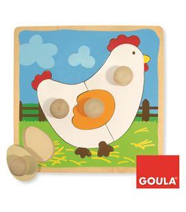 Encaje gallina 4 piezas madera goula - 112706