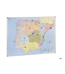 Mapa españa y portugal magnético marco aluminio 103x129cm faibo 153