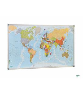 Mapa mundo magnético m/aluminio 74x140 faibo 173