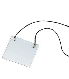 Portadistintivo con goma elastica negra pvc 09073100 - 113200