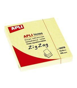 Nota adhesiva posit zig zag 75x75 100h amarillo apli 12078