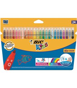 Rotulador escolar punta media kid couleur c.24 bic 09335 841800