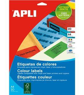Etiqueta colores verde 20h 70x37mm apli 01594