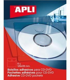 Bolsillo cd autoadhesivo 12,6x12,6cm 6uds/caja apli 02585