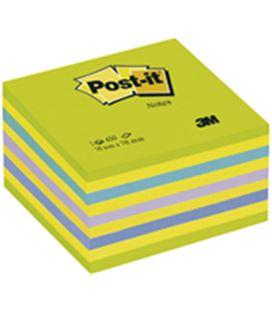 Nota adhesiva posit cubo 76x76 450h neon azul verde post-it 3m 2028-nb